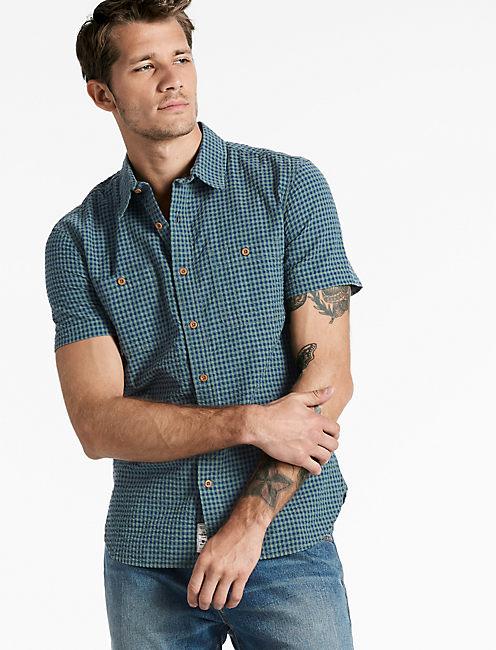 Seersucker Picnic Shirt, BLUE/GREEN