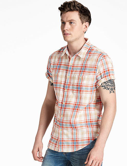 Red button down shirts for men lucky brand for Lucky brand button down shirts
