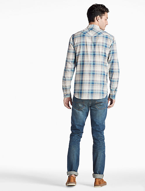 Palisades Western Shirt, BLUE/GREEN/NATURAL