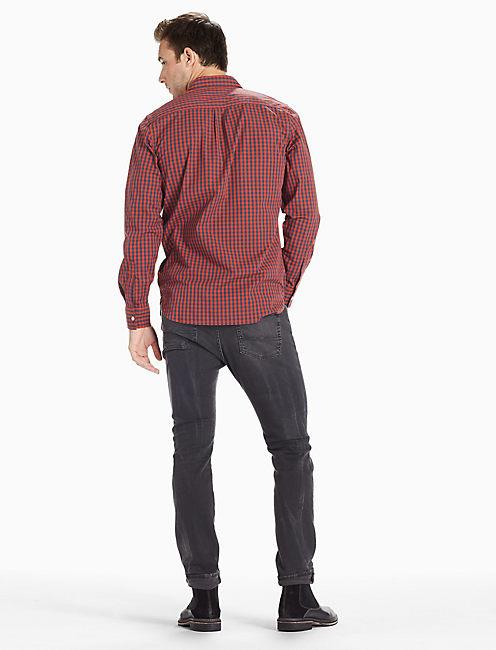 Saturday Stretch Poplin One Pocket Shirt, RUST/NAVY