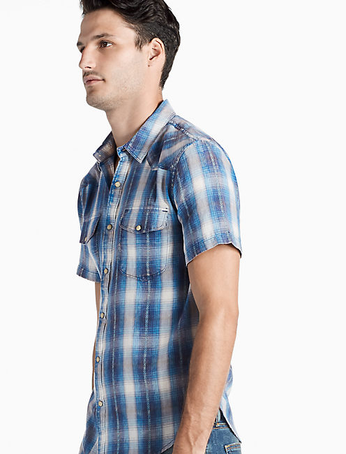 Palos Verdes Western Shirt, BLUE PLAID