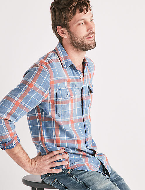 AXE INDIGO SHIRT, SALMON