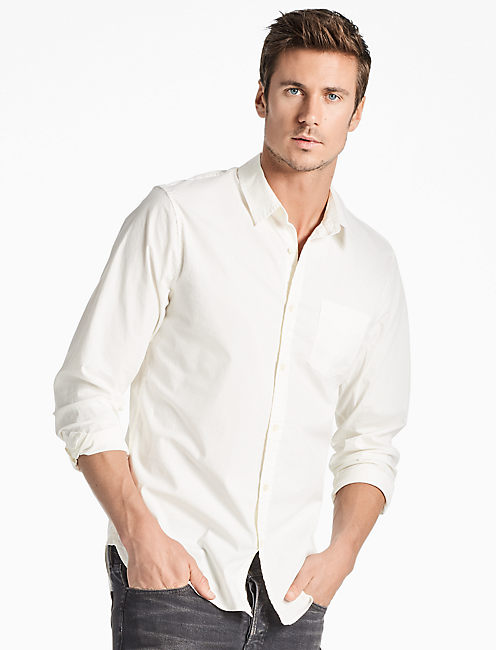 SATURDAY STRETCH ONE POCKET SHIRT, MARSHMALLOW