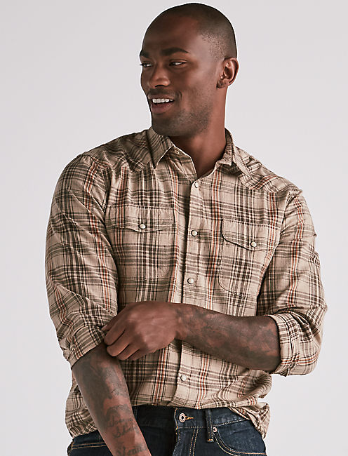 MADRAS WESTERN SHIRT, NATURAL/GRN/ORG