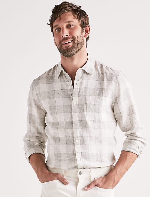 Linen Blend Plaid One Pocket Shirt,
