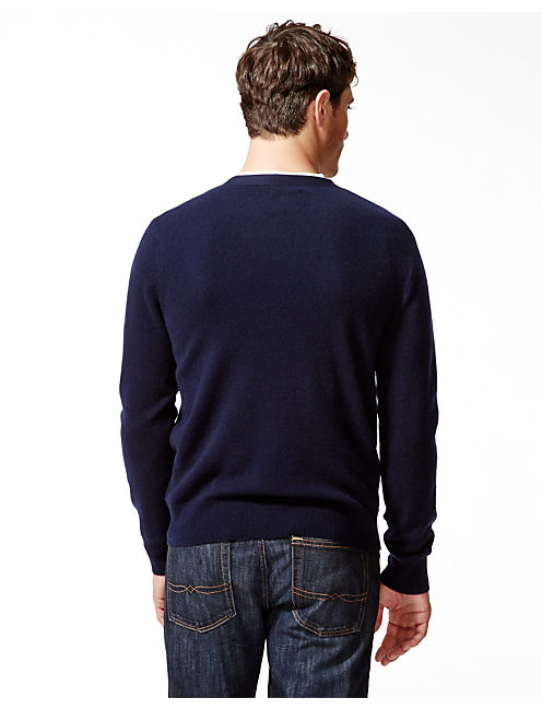 CASHMERE V NECK SWEATER, AMERICAN NAVY