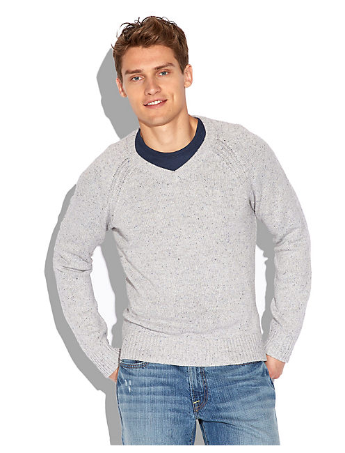 VISTA V NECK SWEATER, HEATHER GREY