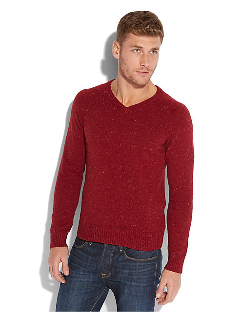 VISTA V NECK SWEATER, RED WINE #6610