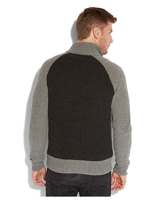 INDIAN FULL ZIP SWEATER, 79 CHARCOAL
