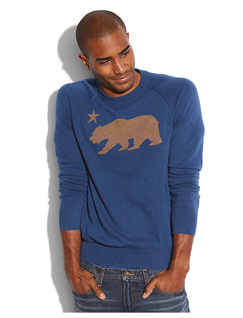 CALIFORNIA BEAR INTARSIA, #458 BLUE