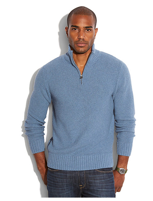HEAVENLY HALF ZIP SWEATER, HEATHER BLUE