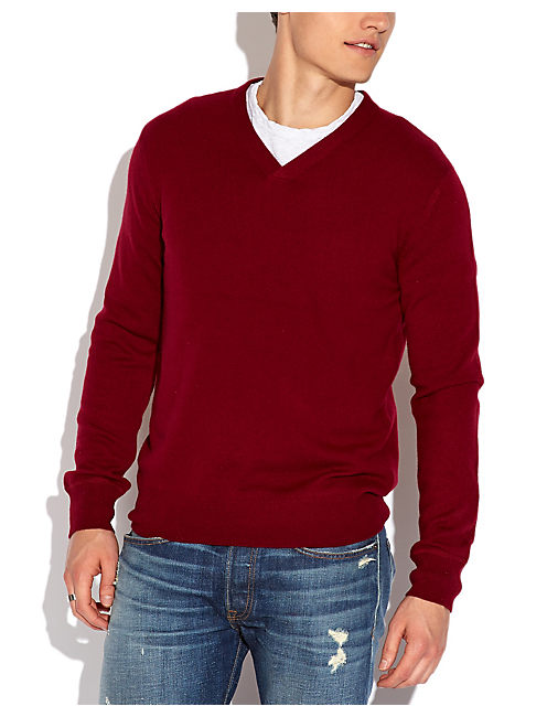 CASHMERE V NECK SWEATER, PORT
