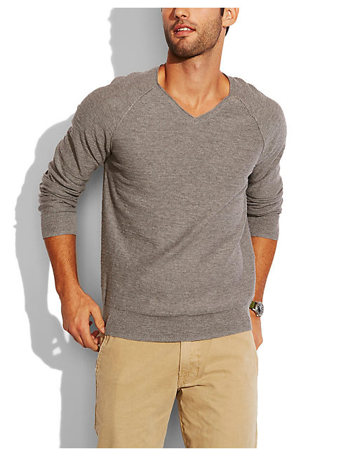 SUMMER V NECK SWEATER, HEATHER GREY