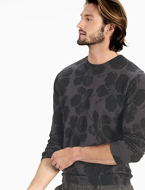 FLORAL CREW SWEATER, BLACK MULTI