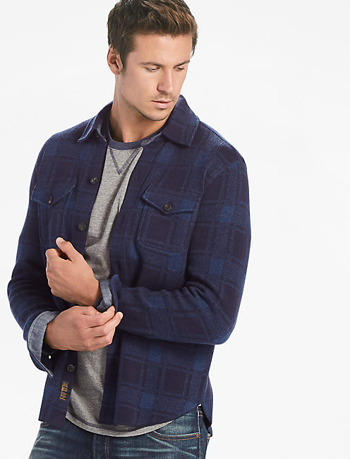 PLAID SWEATER SHIRT JACKET,