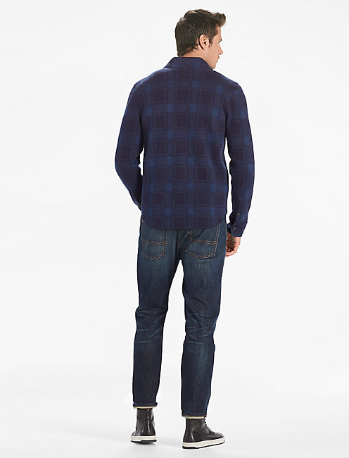 PLAID SWEATER SHIRT JACKET, NAVY/BLUE