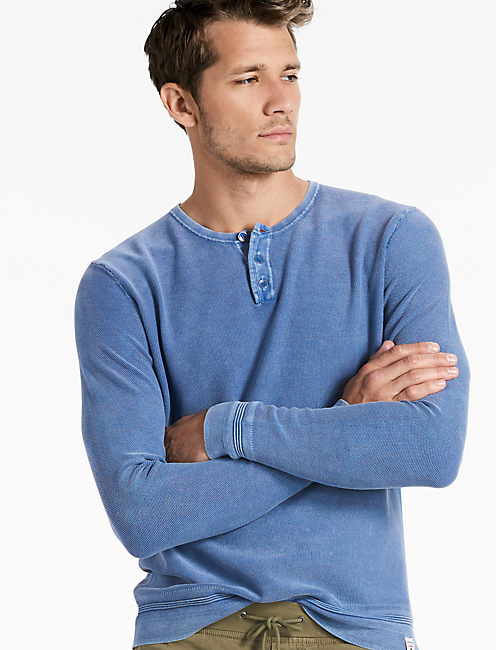 WASHED HENLEY SWEATER,