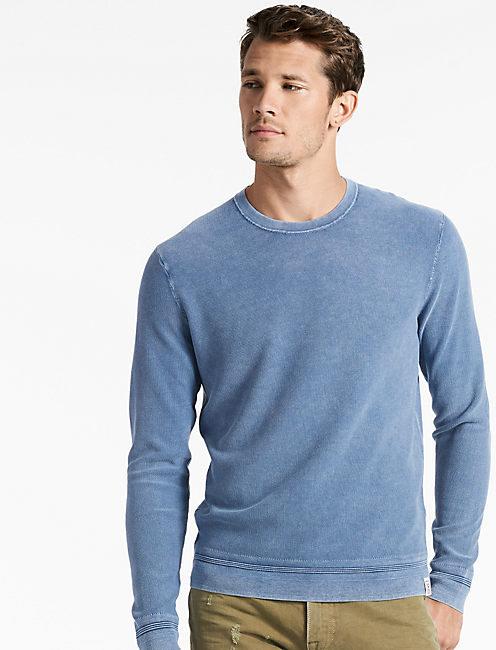 WASHED CREW SWEATER, DARK BLUE
