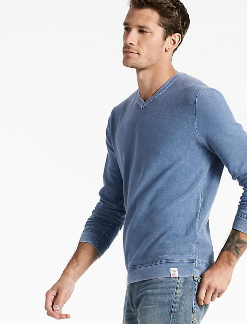 WASHED V-NECK SWEATER, DARK BLUE