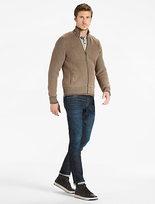 FULL ZIP MOCK NECK SWEATER,