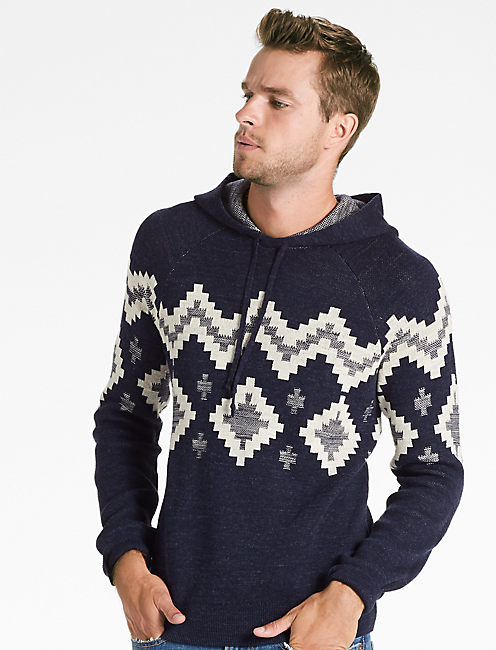 INTARSIA HOODED SWEATER, NAVY MULTI