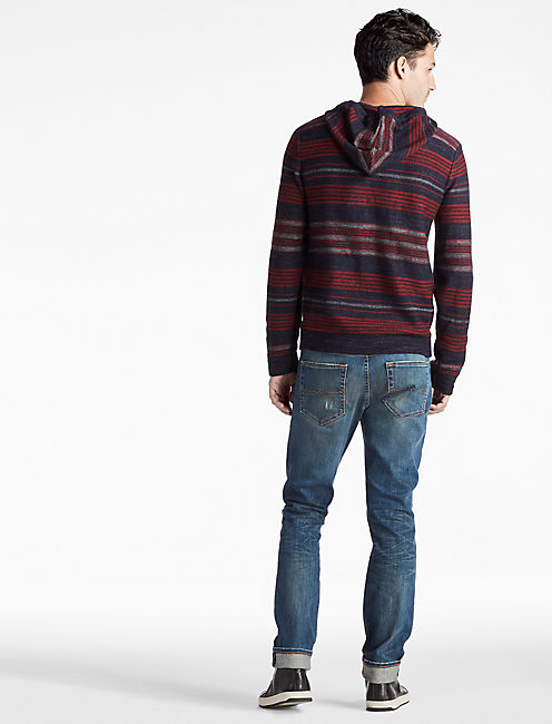 HERITAGE STRIPED HOODED SWEATER,