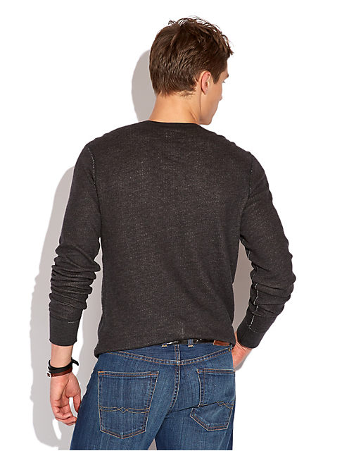 DOUBLE KNIT LS HENLEY, CHARCOAL HEATHER
