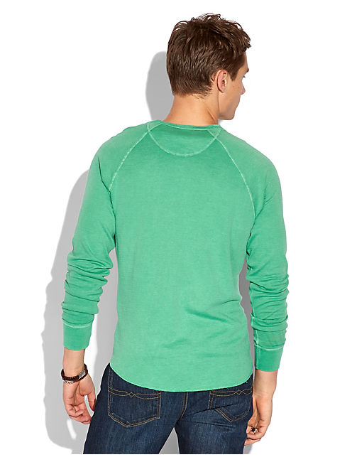 LS DOUBLE KNIT HENLEY, FIELD GREEN