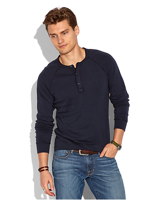 LS DOUBLE KNIT HENLEY, AMERICAN NAVY