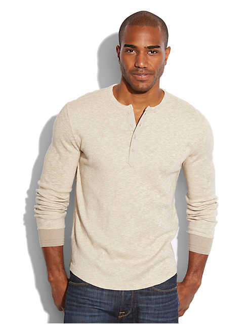 TWISTED SLUB HENLEY, HEATHER WARM GREY