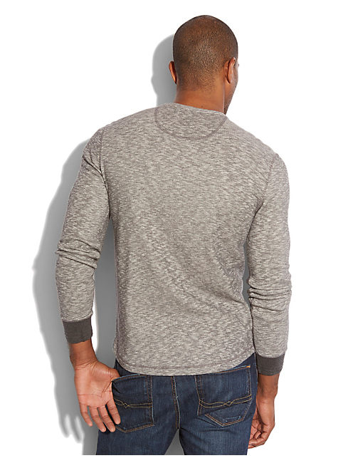 TWISTED SLUB HENLEY, CHARCOAL HEATHER