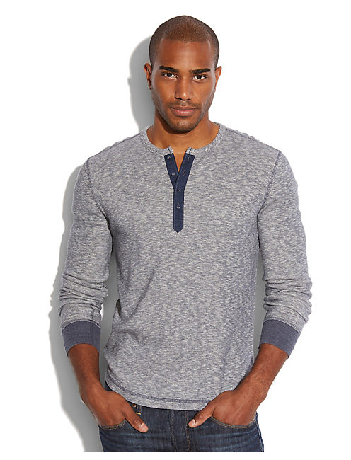 TWISTED SLUB HENLEY, NAVY HEATHER