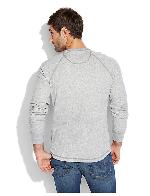 DOUBLE KNIT HENLEY, HEATHER GREY