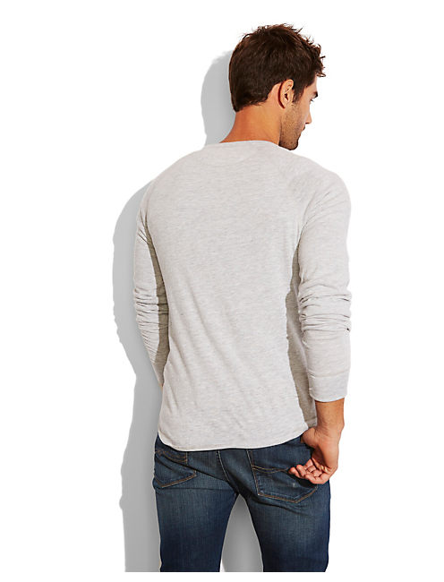 SUPER SOFT LS  HENLEY, LT HEATHER GREY