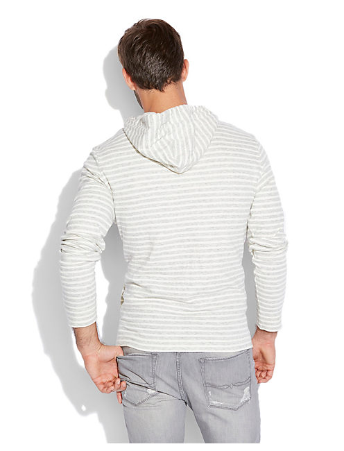 DOUBLE KNIT STRIPE HOODIE, HEATHER GREY COMBO