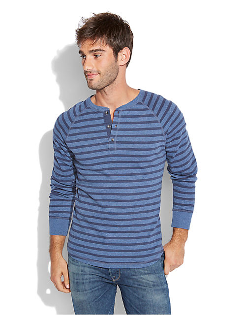 LS STRIPE  HENLEY, NAVY HEATHER COMBO