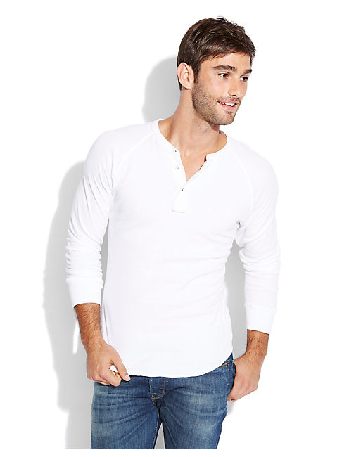 DOUBLE KNIT HENLEY, BRIGHT WHITE