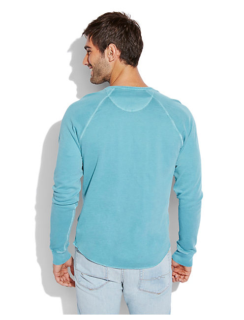 DOUBLE KNIT HENLEY, BRITTANY BLUE