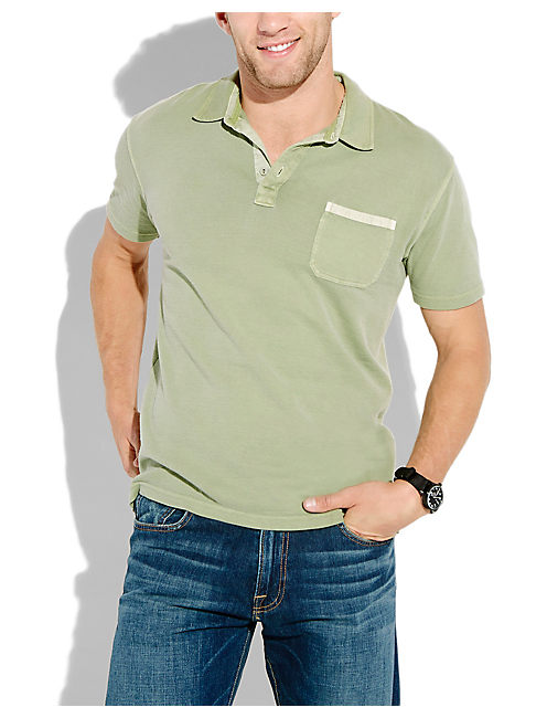 DOUBLE KNIT POLO, HEDGE GREEN