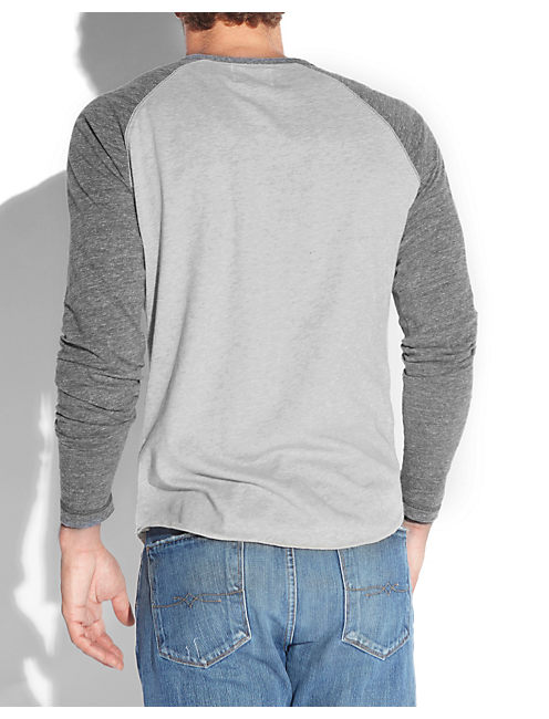 BASEBALL HENLEY, HEATHER GREY COMBO