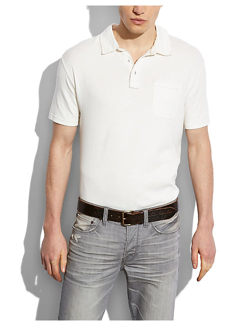 DOUBLE KNIT POLO, MARSHMELLOW