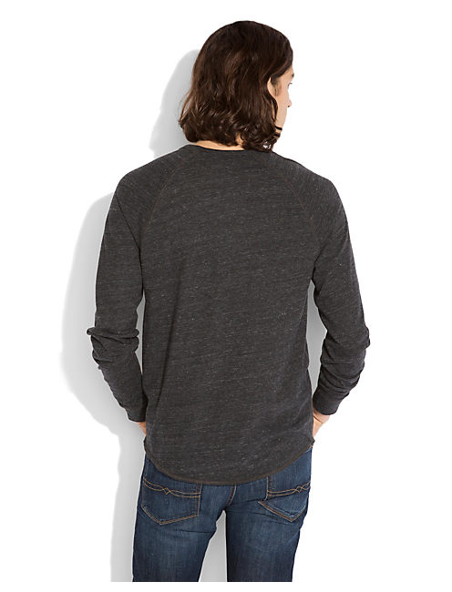 TRIBLEND LS HENLEY, BLACK HEATHER