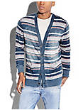 STRIPED INDIGO CARDIGAN, MULTI