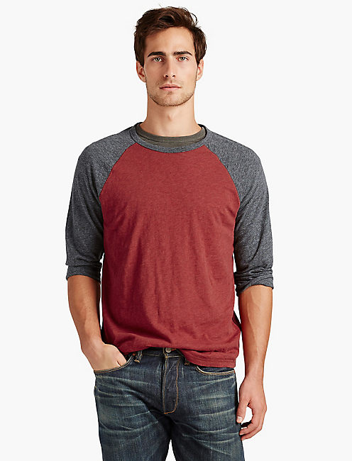 COLORBLOCK BASEBALL TEE, RED MULTI