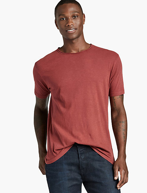 Lucky Brand Mens Rolled Neck Crew T-Shirt (Multi Colors)