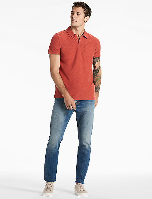 SHORT SLEEVE JOHNNY COLLAR POLO, RED