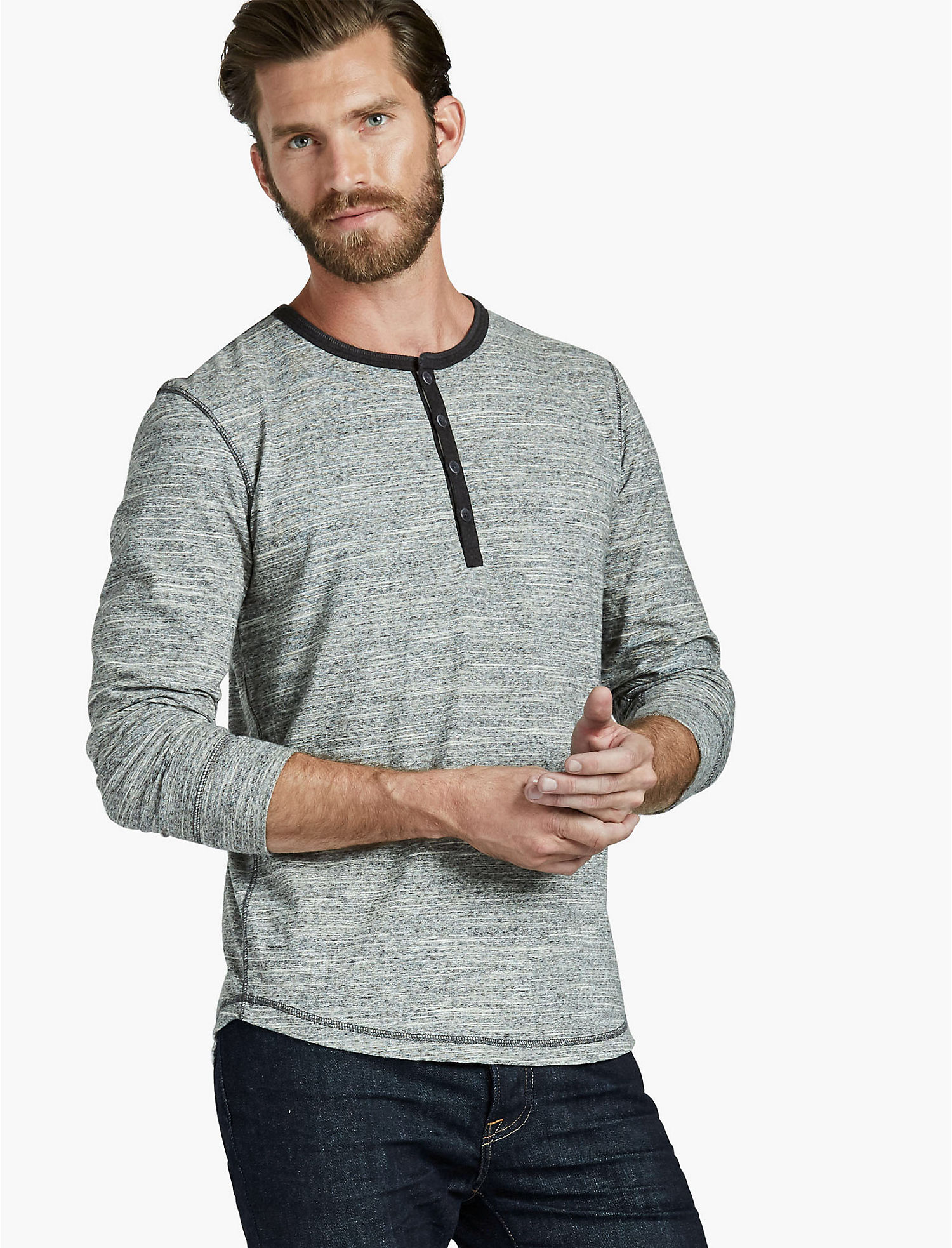 Lucky Brand Mens Huntington Henley (Heather Grey or Military Olive)