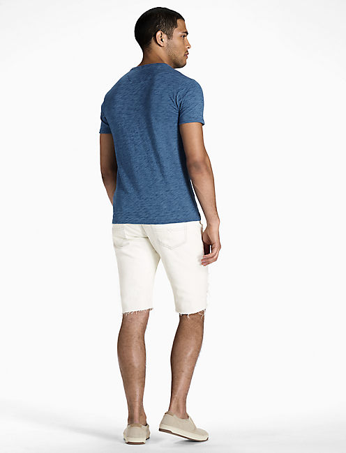 INDIGO SS 2 BUTTON NOTCH TEE,