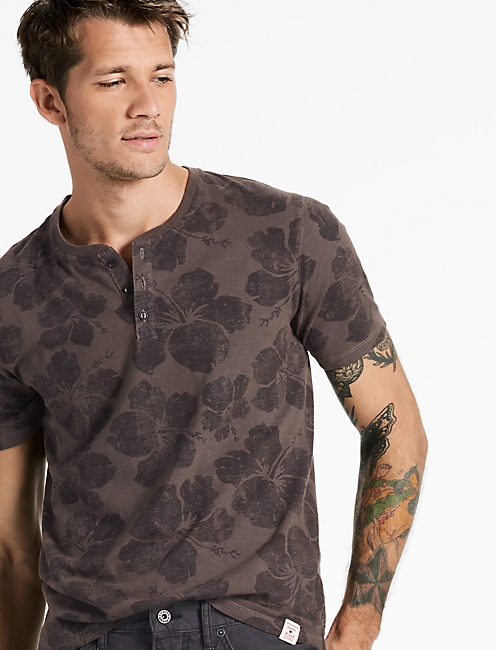 SHORT SLEEVE NOVELTY HENLEY, RAVEN