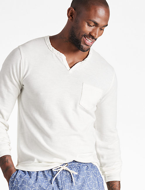 LONG SLEEVE NOTCH TEE, MARSHMALLOW